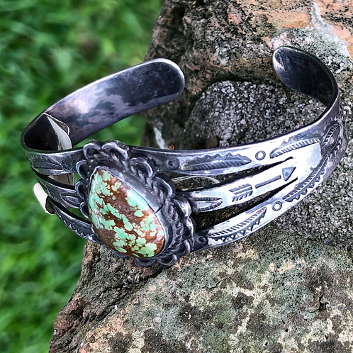 Green turquoise pawn cuff #41