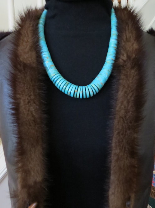 """Turquoise wafer cut 23""""necklace by Santo Domingo artist"""