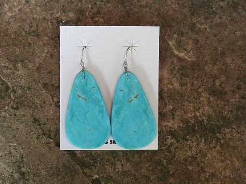 Large turquoise slab earrings