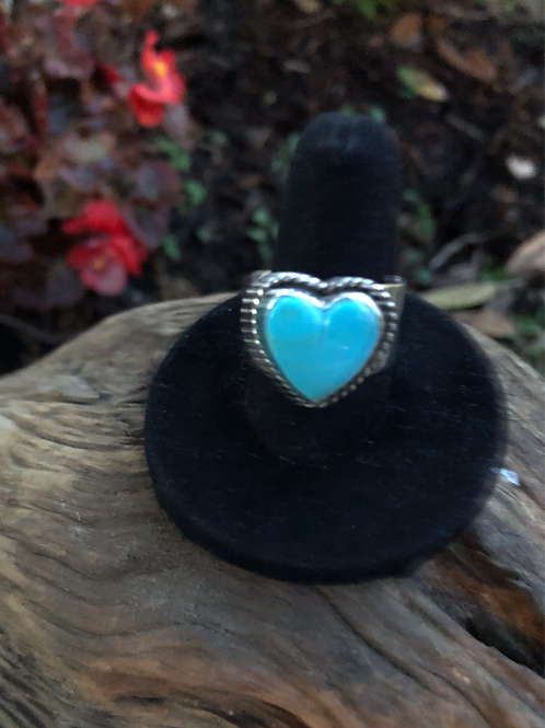 Sold Turquoise heart ring. Adjustable Sz. 6+ $174.