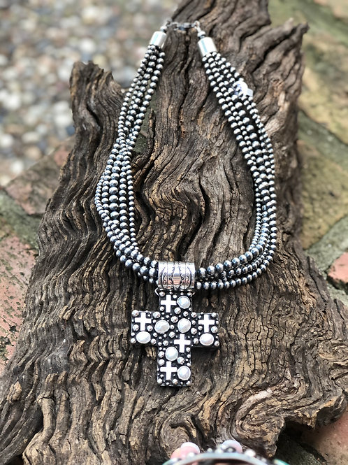 Beautiful sterling silver cross & fresh water pearl pendant by A. Douglas