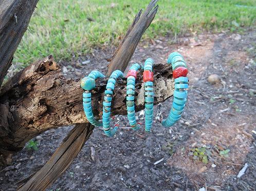 Turquoise Heshi bracelets hand made by Sharon Abeyta