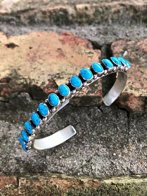 Fifteen stone turquoise cuff #70