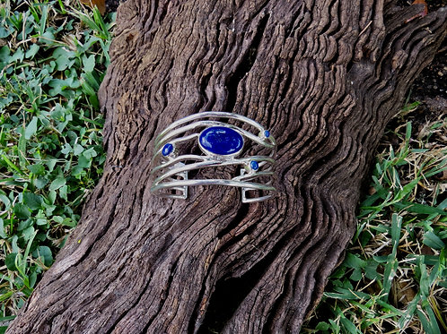 Contemporary sterling silver and 4 stone lapis cuff