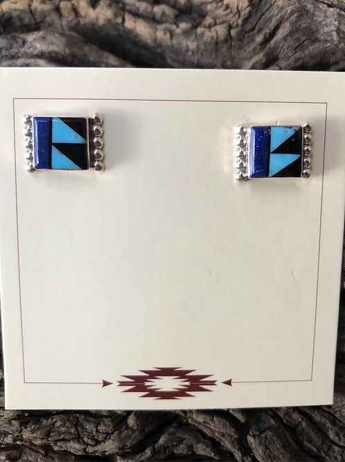Zuni stud earrings with turquoise and lapis inlay.