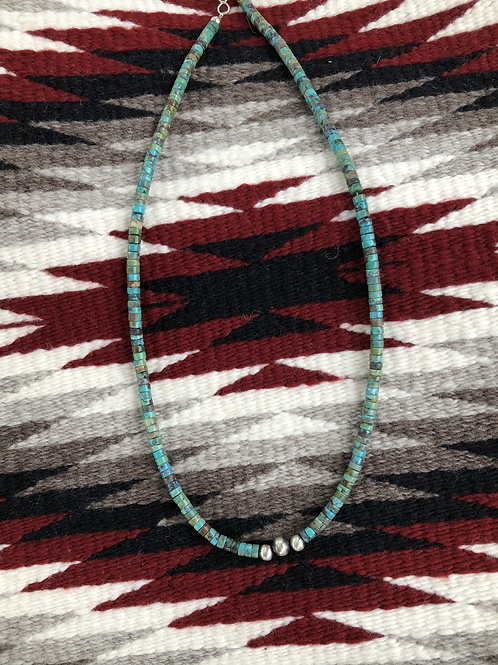 """18"""" Royston turquoise choker with three sterling silver beads"""