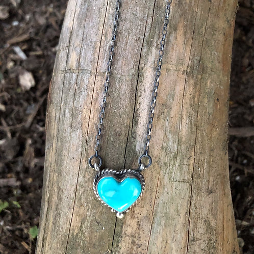 SOLD: Turquoise heart-shaped  necklace by Navajo Eloise Kee $110