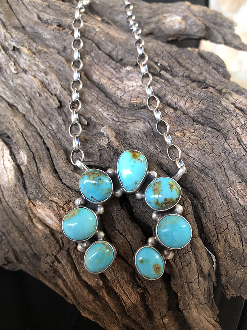 """Sold-Naja set with 7 turquoise stones with sterling silver chain 18"""". $330."""