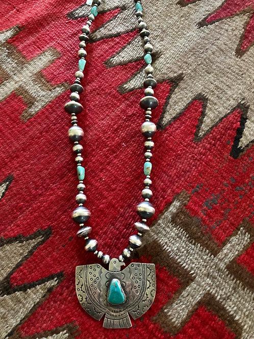 Navajo pearl & turquoise necklace with thunderbird pendant