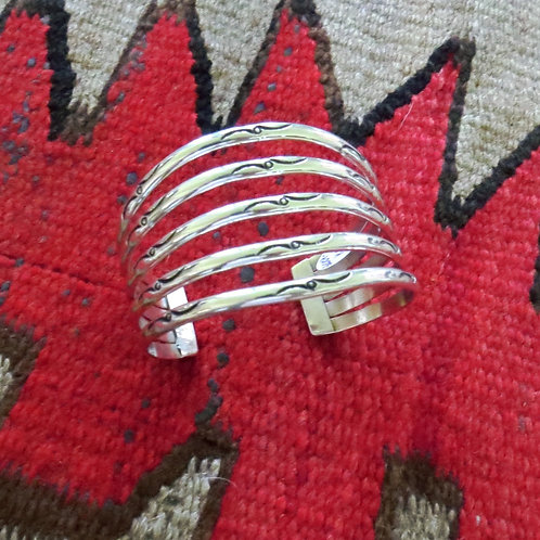 Navajo 5 row silver hand-stamped cuff