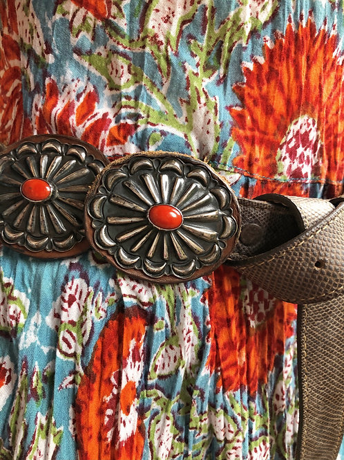 Navajo sterling silver concho belt with blood red coral stones, signed D. Reeves