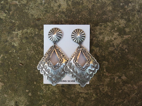 Navajo silver etched dangle earrings