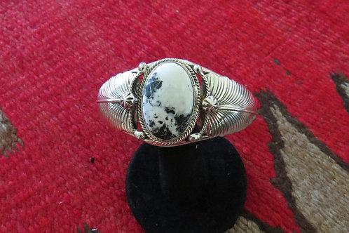 White Buffalo bracelet with silver leaf design cuff