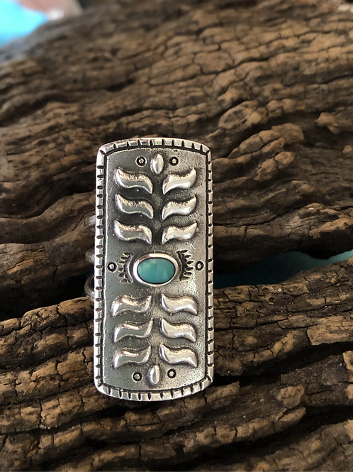 Sterling silver Navajo designs and turquoise stone, Sz. 6.75