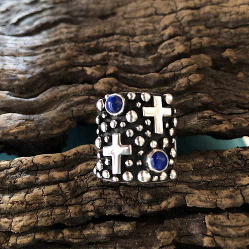 Sterling silver cross and lapis ring by Navajo A. Douglas