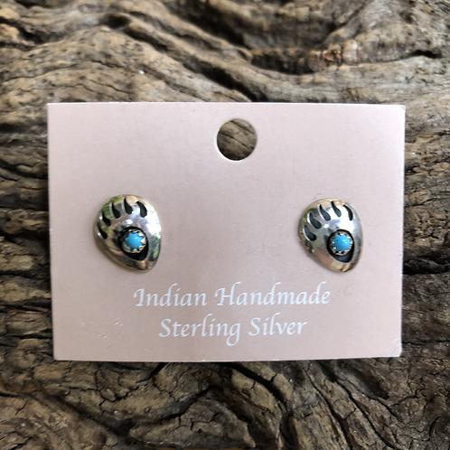 Sterling silver bear paw shadow box stud earrings.