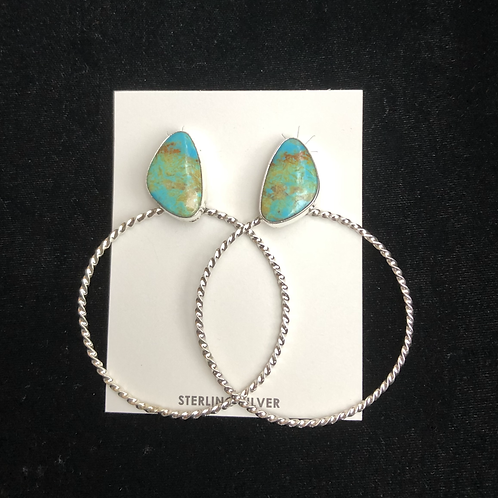 Turquoise stud earrings with sterling silver hoops