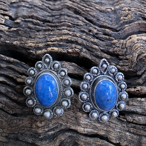 Beautiful vintage lapis clip-on earrings set in hand made silver work