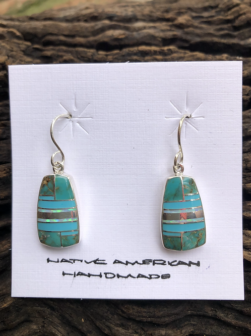 Turquoise and sea opal inlay set into sterling silver setting on french wires