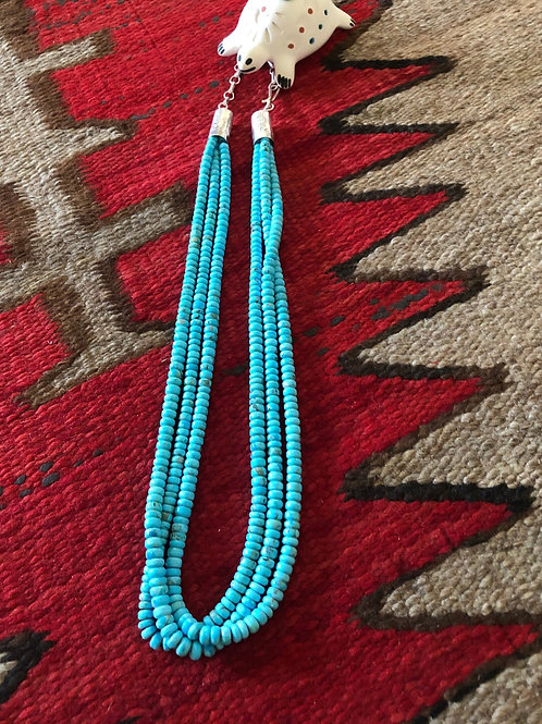 Three strand turquoise heshi necklace by Robert Tenorio