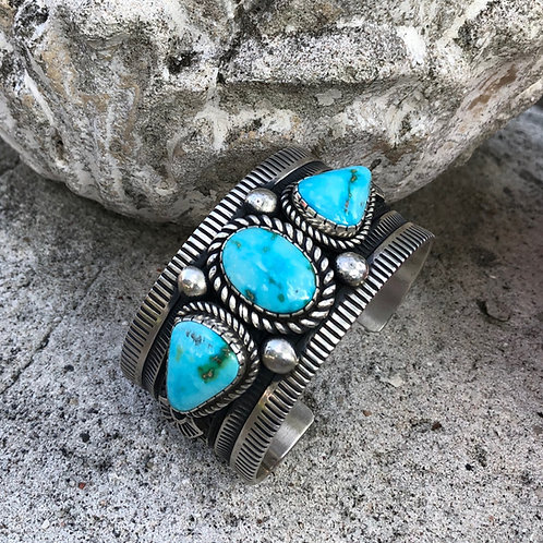 Three stone turquoise cuff #82