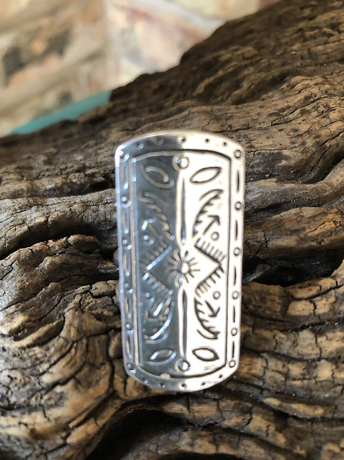 Sterling silver Navajo ring with stamping. Sz. 7.75
