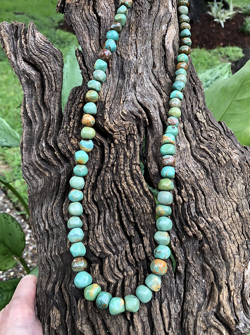 """Sold- Beautiful natural turquoise bead necklace, 27"""" long $450."""