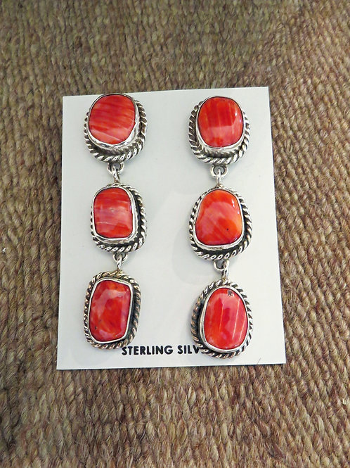 SOLD: Red spiny oyster shell dangles by Navajo Kera Tsosie $250