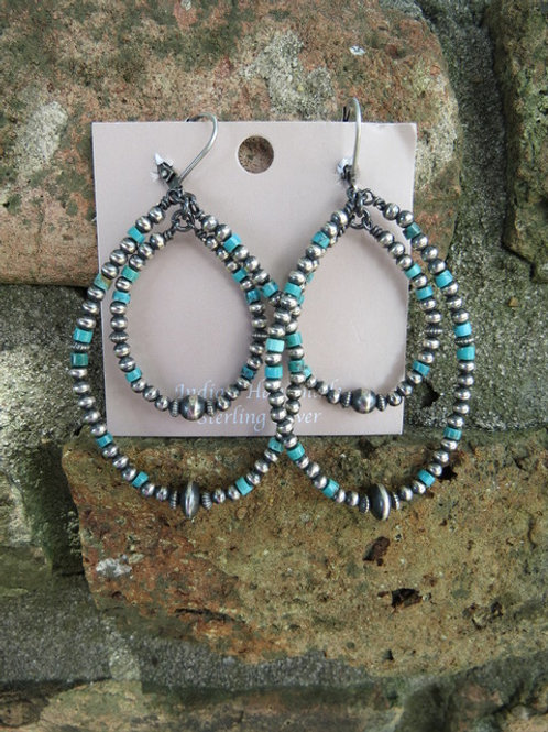 Double strand Navajo pearl with turquoise earrings