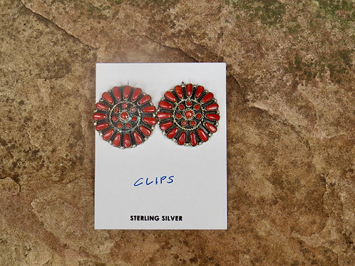 Coral cluster clip-on earrings