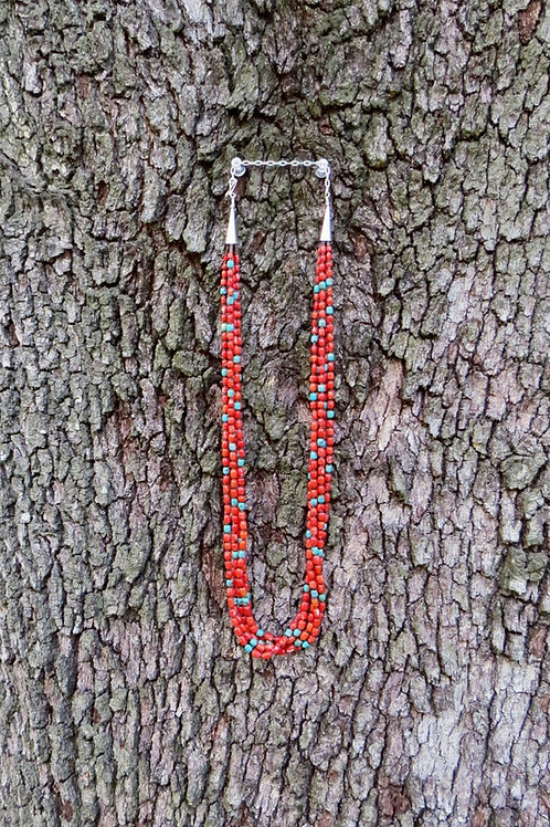 5 strand smooth red coral with turquoise stones by the Abeyta family