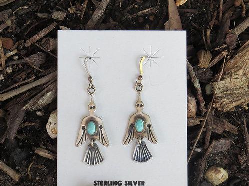 Peyote bird earrings with turquoise stone