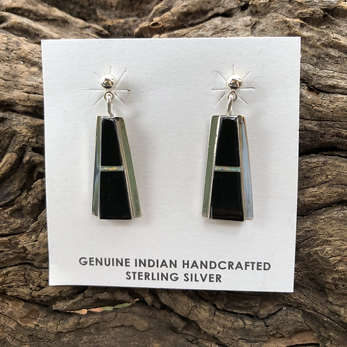 Black onyx and sea opal inlay dangles set into sterling silver