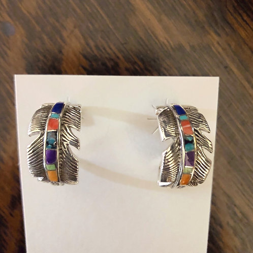Sterling silver loop feather earrings with multi stone inlay by David Rosales