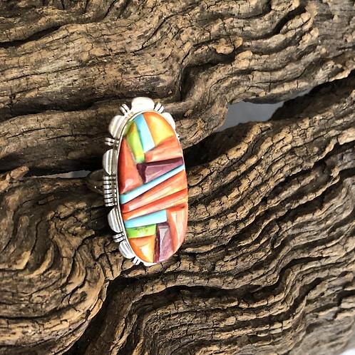 Orange spiny, turquoise, purple spiny and gaspeite cobblestone ring, Sz.9