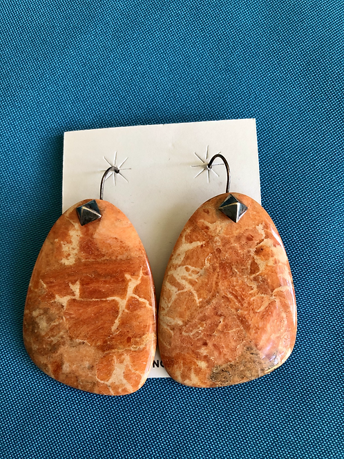 Large orange spiny oyster shell slab earrings on silver french wires
