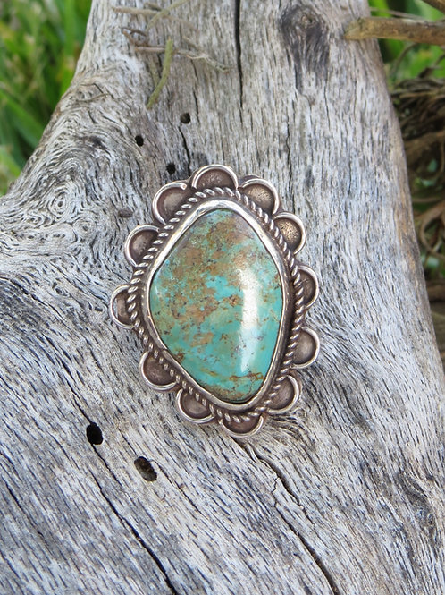 Vintage Navajo silver hand-tooling with turquoise ring