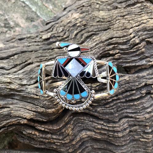 Traditional Zuni Thunderbird inlay bracelet