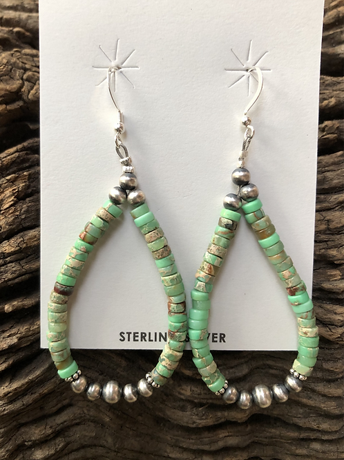 Turquoise heshi hoops with Navajo pearls
