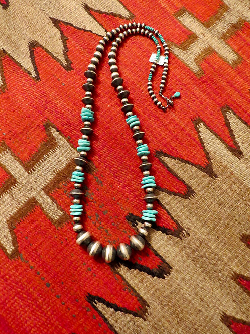 """Graduated Navajo pearls with turquoise stones. 34"""""""