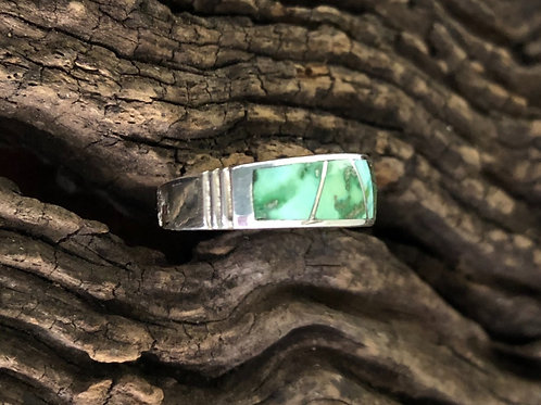 Sterling silver ring with Sonoran Gold turquoise ring by David Rosales. Sz. 7