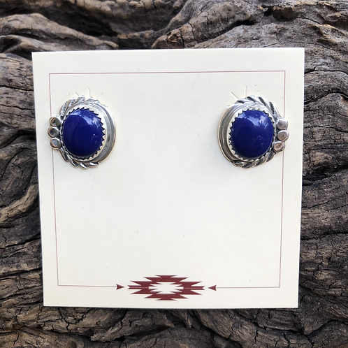 Lapis stud earrings se into sterling silver stamp work.