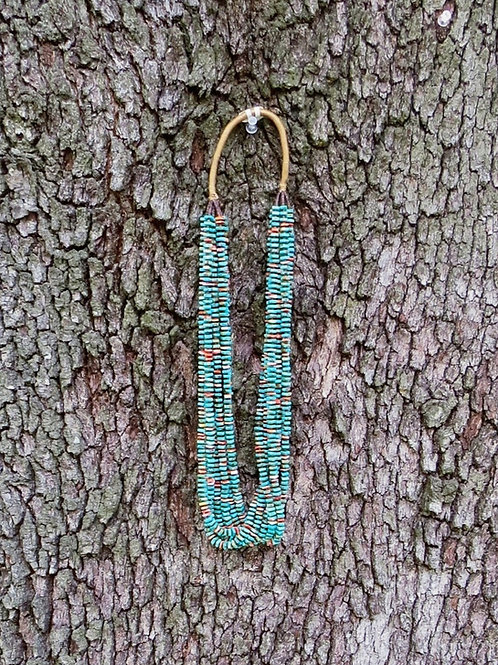 7 strand turquoise and orange spiny oyster chiclet necklace by the Abeyta Family