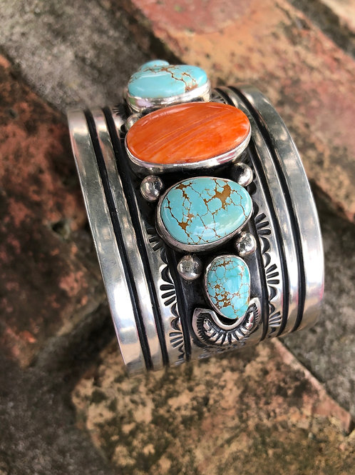 Spiny oyster shell & turquoise wide cuff #58
