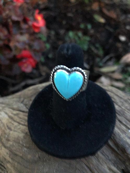 Turquoise heart ring. Adjustable Sz. 8+