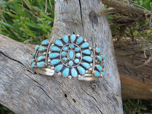 SOLD: Vintage Zuni turquoise cluster cuff by JMBegay $330