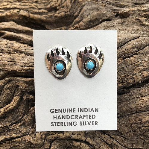 Sterling silver shadow box earrings with turquoise stones.