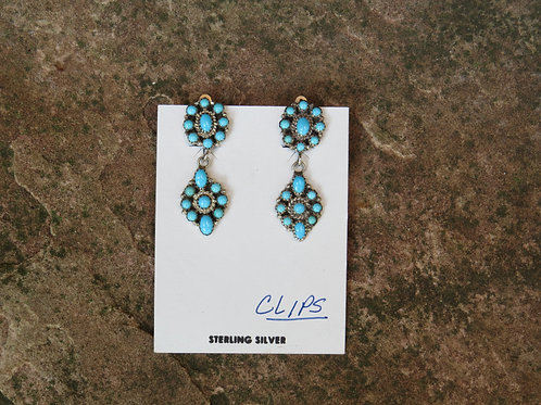 Zuni turquoise cluster clip-on earrings