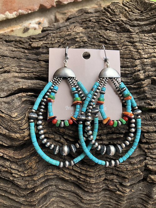 Turquoise heshi and Navajo pearls hoops with multi stones