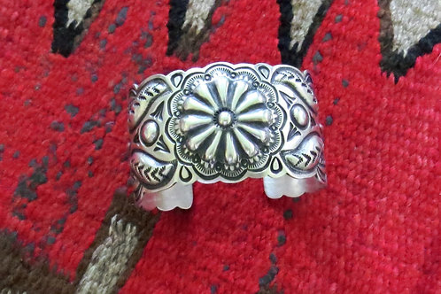 SOLD: Navajo silver hand-stamped cuff - $230